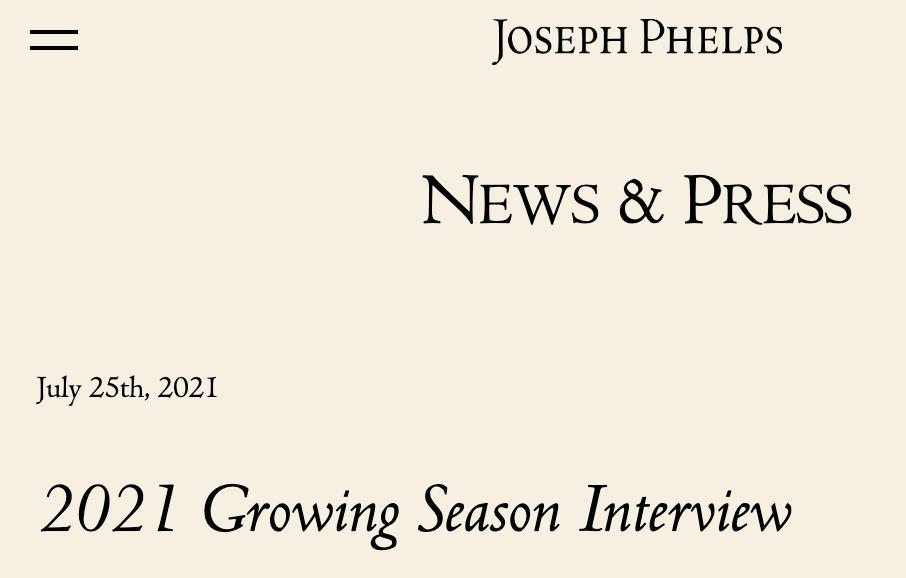 2021 Growing Season Interview at josephphelps.com