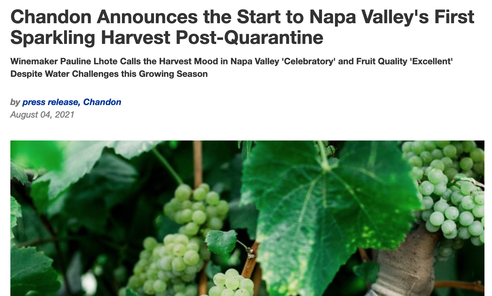 Sparkling Harvest starts for Napa Valley with Chandon