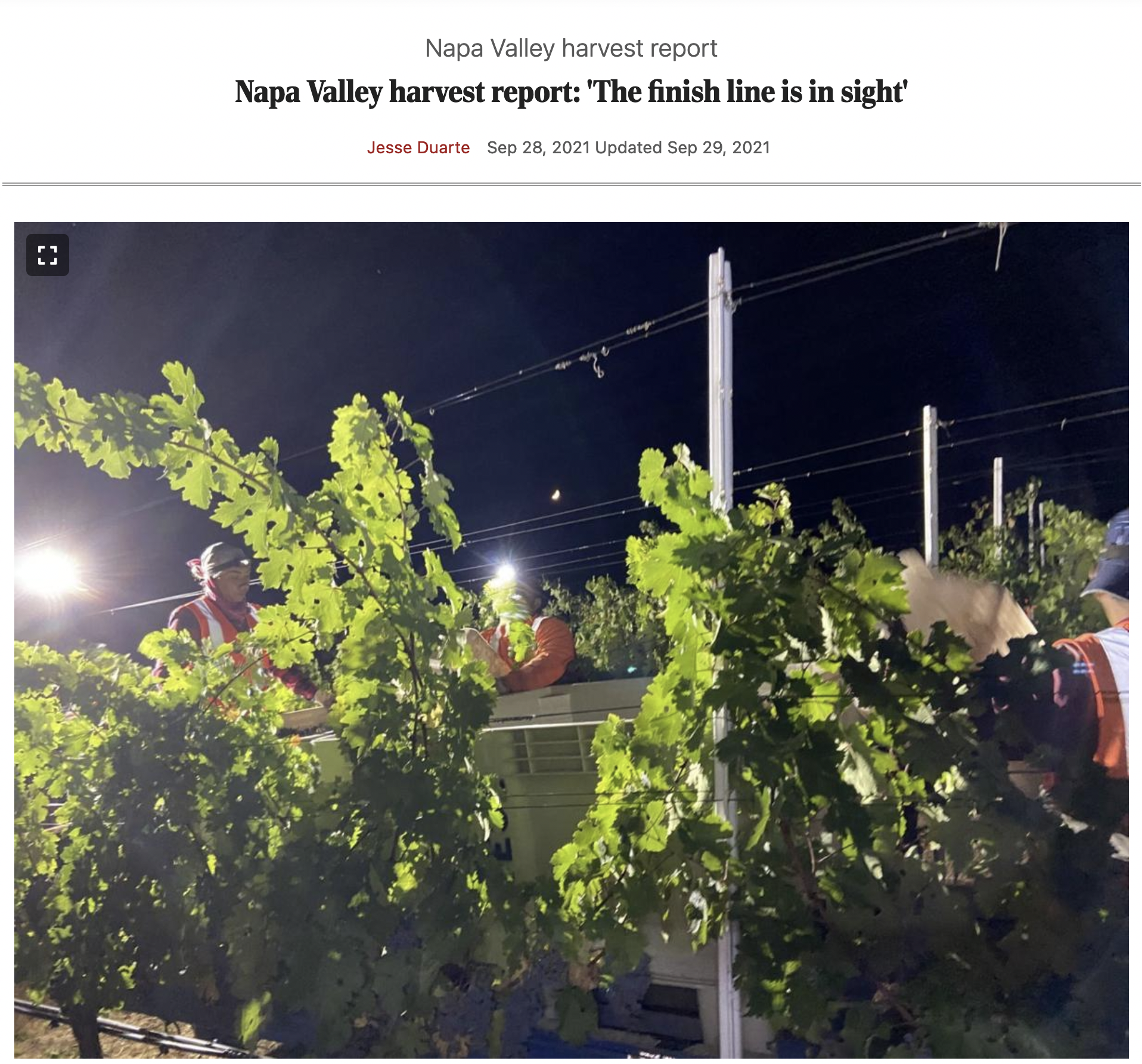 Napa Valley harvest report: 'The finish line is in sight' by Jesse Duarte